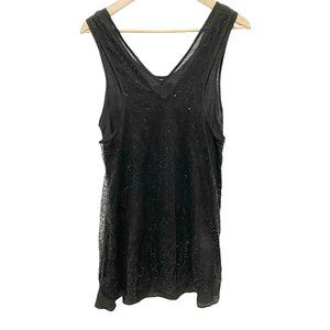 Doki Geki Black V-Neck Sequin Linen Dress